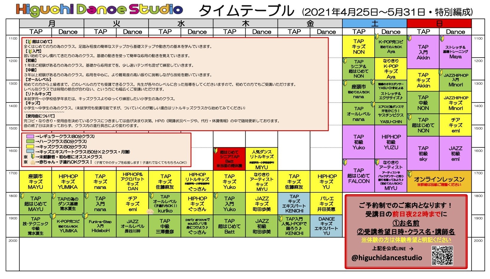 緊急事態宣言特別タイムテーブル2021.4.25~5.31